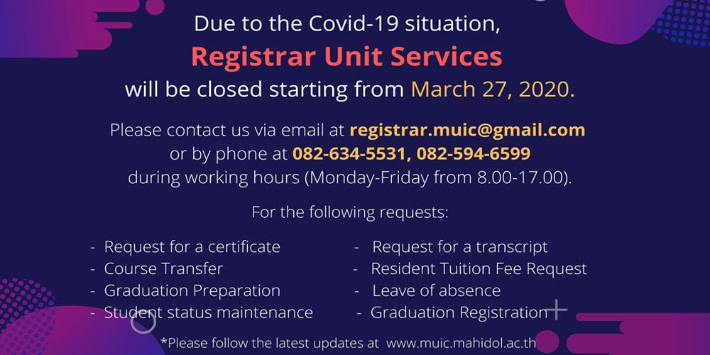 Registrar Unit Services